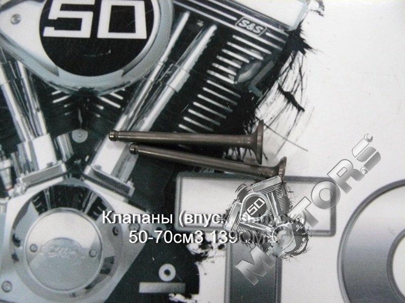 Клапаны (впуск./выпуск.) 50-70см3 139QMB (d=16/18,5) длинна 64мм