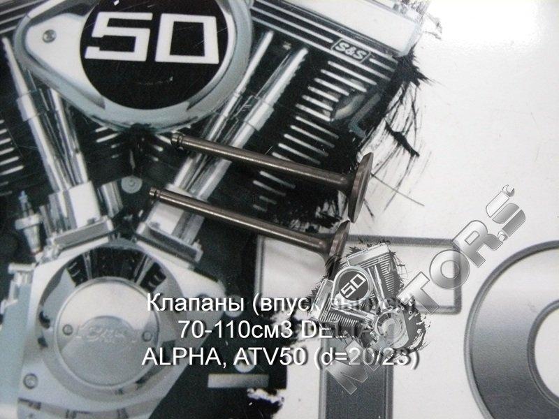 Клапаны (впуск/выпуск) 70-110см3 DELTA, ALPHA, Irbis Virago (d=20/23)  147F ...