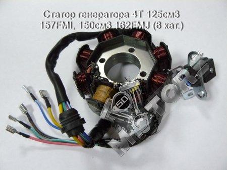 Статор генератора, модель двигателя 4Т 125см3 157FMI, 150см3 162FMJ (8 кат.)